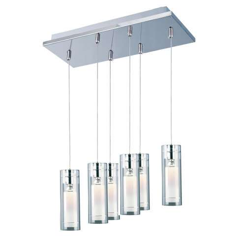 ET2 Contemporary Lighting E22002-10 Frost 6-light Linear Pendant in Polished Chrome finish with Clear/White glass