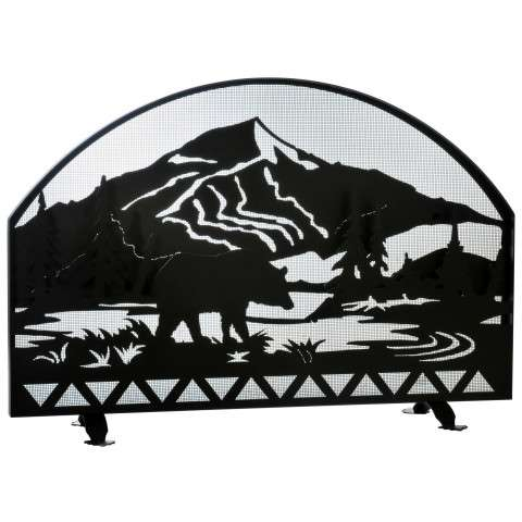 "Bear Creek Arched Fireplace Screen - 48"" Wide x 33"" Tall"