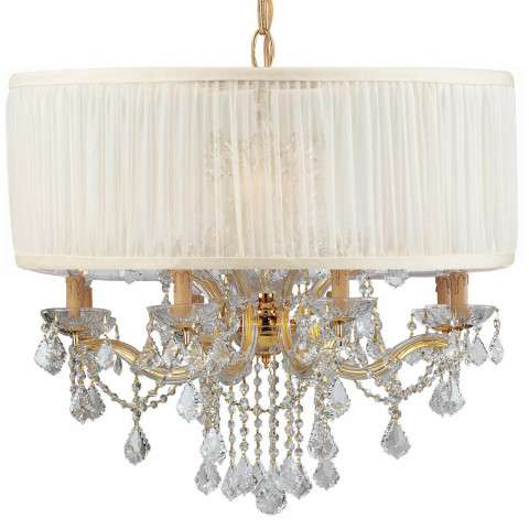 Crystorama 4489-GD-SAW-CLM Brentwood Chandelier Draped in Clear Hand Cut Crystal & Accented with an Antique White Shade