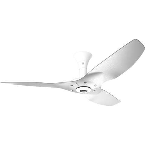 Haiku Low Profile 52 Inch DC Motor Wi-Fi Smart Ceiling Fan In White With Brushed Aluminum Blades.