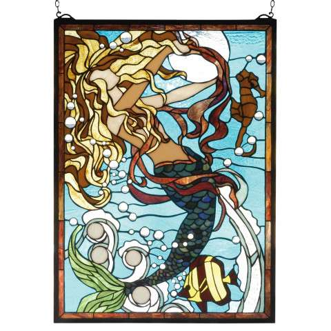 Meyda Tiffany 78086 Mermaid Of The Sea Stained Glass Window in Solid Brass finish