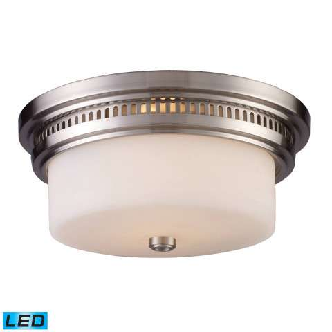 Chadwick 2-Light Flush Mount In Satin Nickel - LED - 800 Lumens (1600 Lumens Total) With Full Scal…