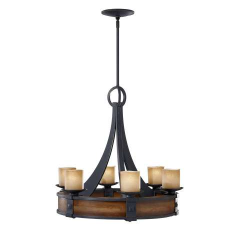 Murray Feiss F2591/6AF/AGW Madera Chandelier in Antique Forged Iron / Aged Walnut finish with Fluer De Lis Glass