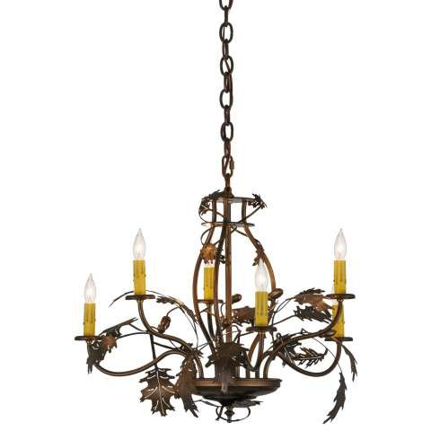 "28"" W Oak Leaf and Acorn 6 Lt Chandelier. Custom Crafted In Yorkville - New York Please Allow 30 Days"