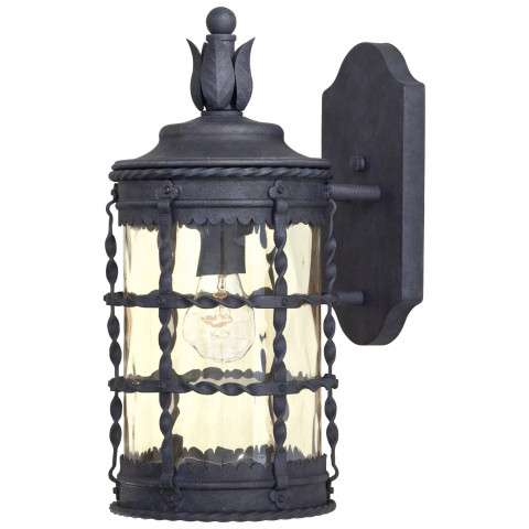 The Great Outdoors 1 Light Wall Mount In Spanish Iron™ Textured Black Powder Coat Finish W/ Champagne Hammered Glass