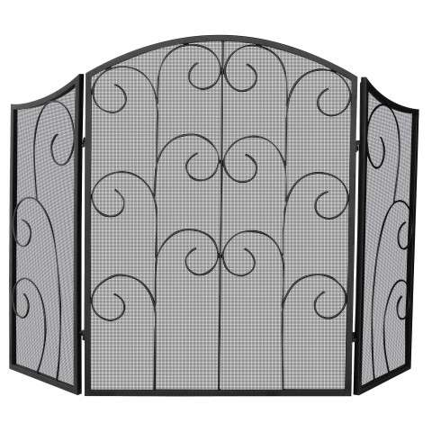 "3 Panel Black Wrought Iron Screen With Decorative Scroll - 52"" Wide x 35"" Tall"