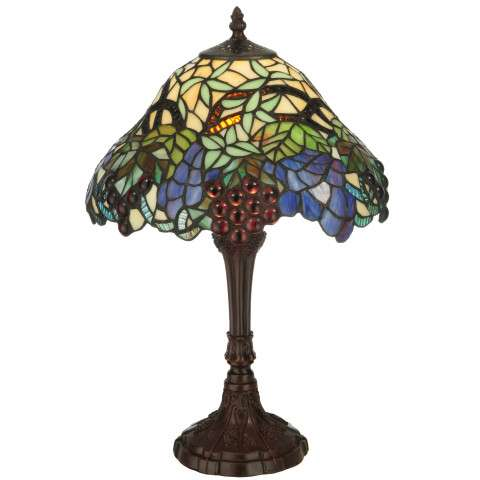 Meyda Tiffany 125093 Spiral Grape Accent Lamp in Bark Brown finish