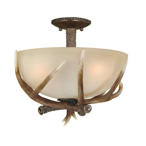 "Yoho 16"" Semi-Flush Mount Black Walnut"