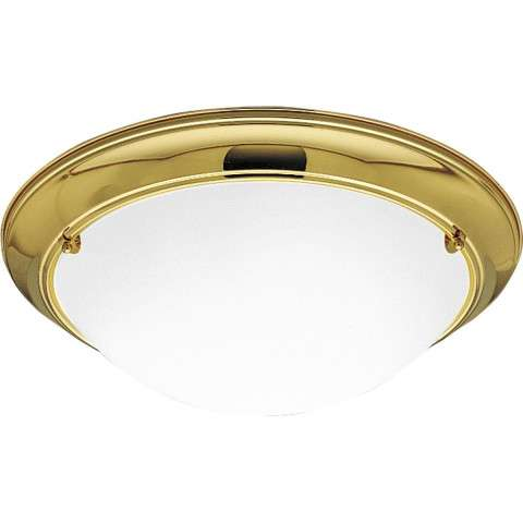 Progress P7325-10EBWB Three-light close-to-ceiling in Polished Brass finish with satin white glass.