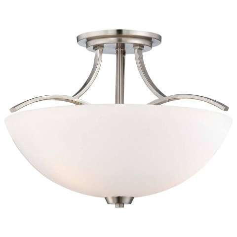 Minka Lavery 3 Light Semi Flush In Brushed Nickel Finish W/ Etched Opal Glass