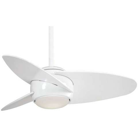 "Slant 36"" LED Ceiling Fan In White"