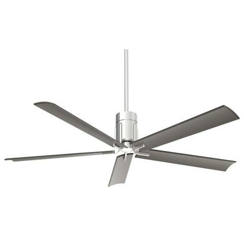 "Clean 60"" LED Celing Fan In Polished Nickel"