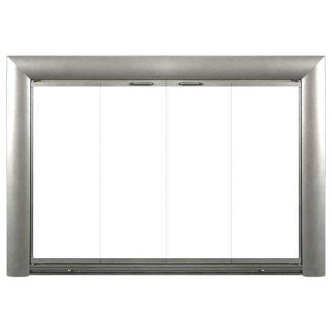 Bungalow Stock Fireplace Door - Satin Nickel