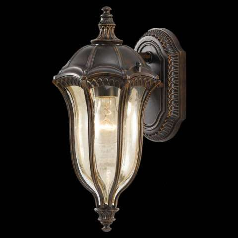 Murray Feiss OL6001WAL Baton Rouge Outdoor Lantern - Wall Mount in Walnut finish with Gold Luster Tinted Glass