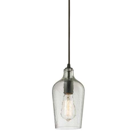 Hammered Glass Collection 1 light mini pendant in Oil Rubbed Bronze