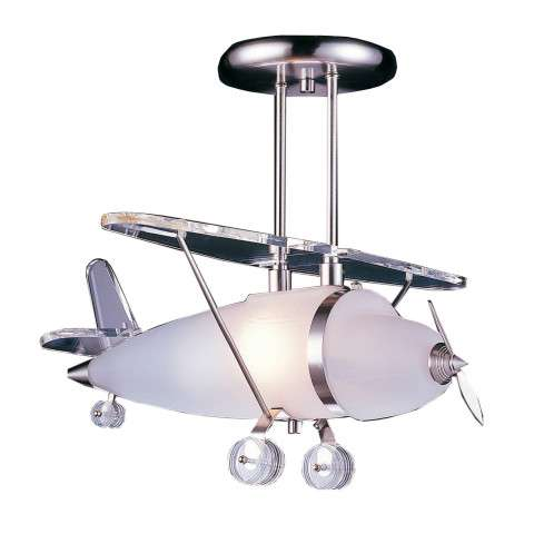 Elk Lighting 5051/1 1 Light Biplane Shape Pendant In Satin Nickel