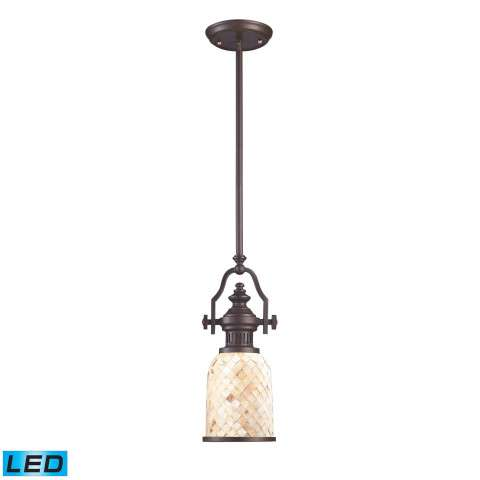 Chadwick 1-Light Pendant In OiLED Bronze And Cappa Shell - LED Offering Up To 800 Lumens (60 Watt…