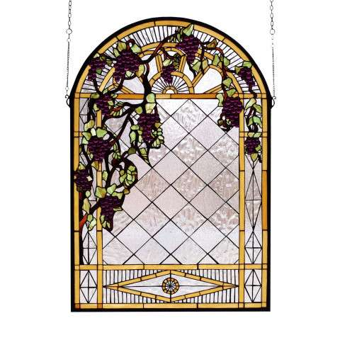 Meyda Tiffany 66048 Grape Diamond Trellis Stained Glass Window in Bark Brown finish