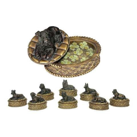 Sterling Furnishings 91-1797 Set/8 Lucky Dog Boxes