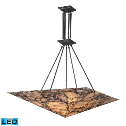 9 Light Pendant In Antique Brass And Veined Stone - LED´S Offering Up To 7 - 200 Lumens (540 Watt E…