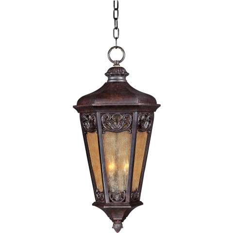 Maxim 40177NSCU Lexington VX 3-Light Outdoor Hanging Lantern in Colonial Umber with Night Shade glass.