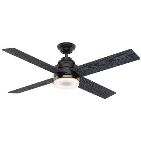 Casablanca 59414 Daphne Ceiling Fan in Matte Black with Reversible Sea Salt Black/Eastern Walnut Blades