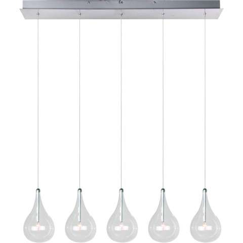 ET2 Contemporary Lighting E23115-18 Larmes 5-light Linear Pendant in Polished Chrome finish with Clear glass