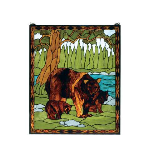 Meyda Tiffany 72935 Brown Bear Stained Glass Window in Rust finish