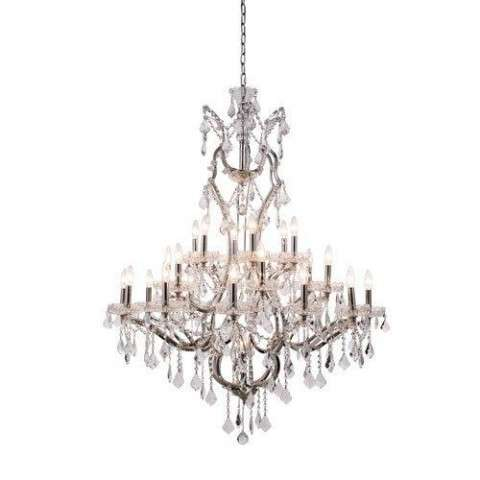 1138 Elena Collection Pendant Lamp D:41in H:52in Lt:25 Polished Nickel Finish Royal Cut Crystal (Clear)