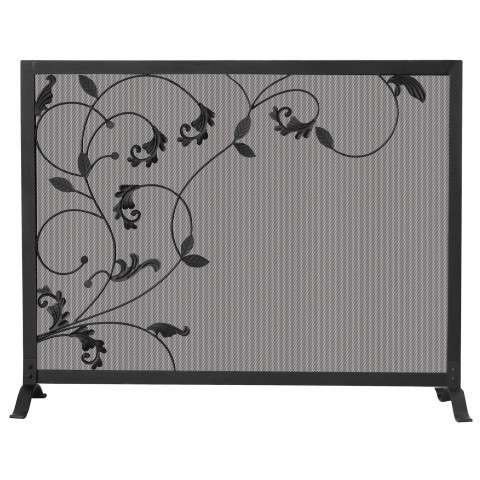 "3 Fold Black Screen With Flowing Leaf Design - 39"" Wide x 31"" Tall"