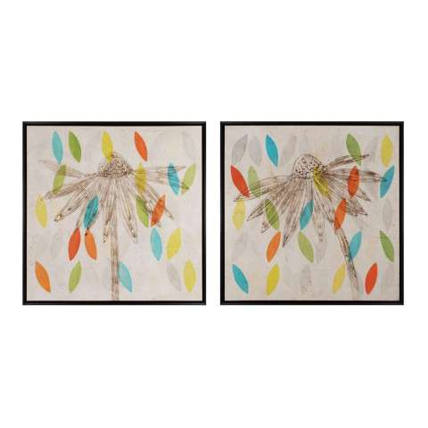 Framed Art - Petals I And II - wood and canvas