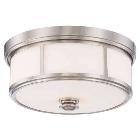 Minka Lavery 2 Light Flush Mount in Brushed Nickel Finish w/Etched Opal Glass