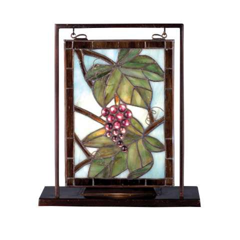 Meyda Tiffany 68352 Nappa Vintage Lighted Mini Tabletop Window in Bark Brown finish