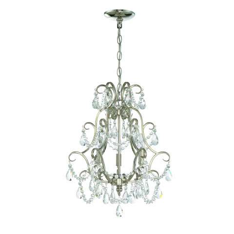Mini Chandelier - 3 Light Mini Chandelier - Polished Nickel
