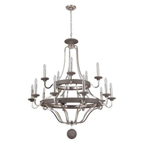 Ashwood 15 Light Two Tier Chandelier in Polished Nickel/Greywood