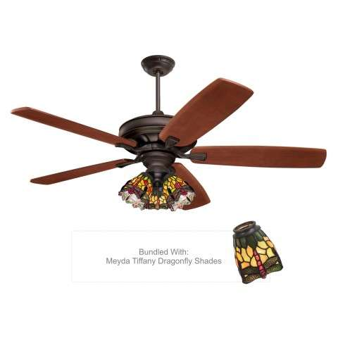 Emerson CF788ORB with Tiffany Ceiling Fan Glass from Meyda