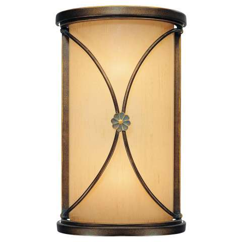Minka Lavery 2 Light Sconce In Deep Flax Bronze Finish W/Venata De Oro Glass
