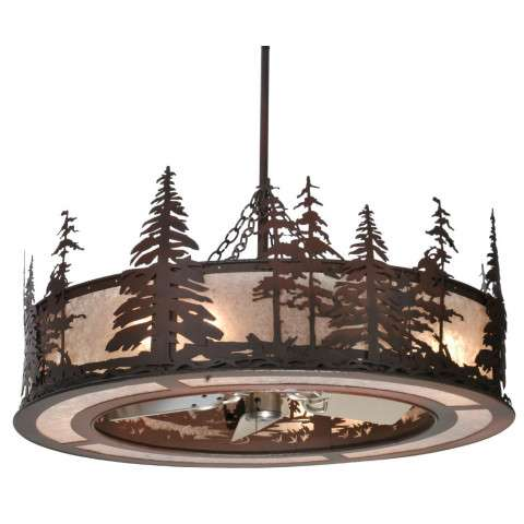 "Meyda 44"" Tall Pines Chandel-Air in Rust Iron and Silver Mica w/Oil Brushed Nickel Fan"