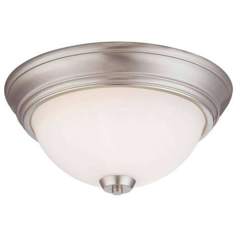 Minka Lavery 2 Light Flush Mount In Brushed Nickel Finish W/ Etched Opal Glass