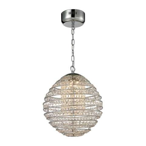 Crystal Sphere  Light Pendant In Polished Chrome