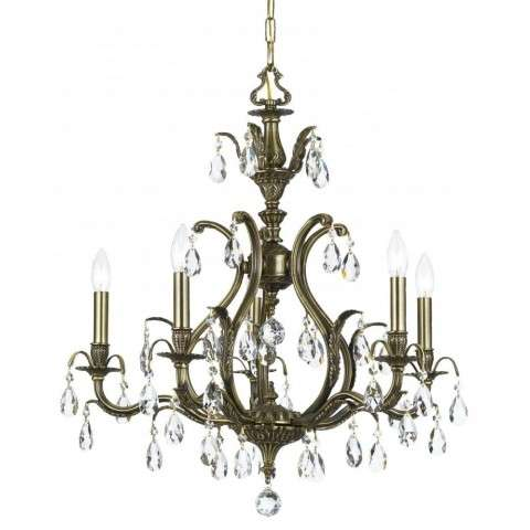 Dawson 5 Light Gold Teak Swarovski Strass Crystal Brass Chandelier I