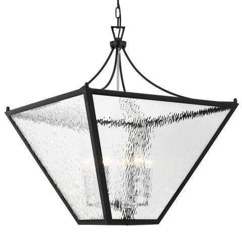 Park Hill 6 Light Matte Black And Polished Chrome Large Lantern
