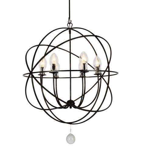 Solaris Outdoor 6 Light Bronze Sphere Chandelier