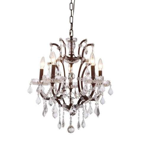 1138 Elena Collection Pendant Lamp D:18in H:22in Lt:5 Rustic Intent Finish Royal Cut Crystal (Clear)