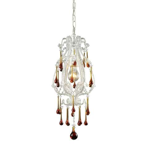 Elk Lighting 12003/1AMB Opulence 1-Light Pendant In Antique White And Amber Crystals