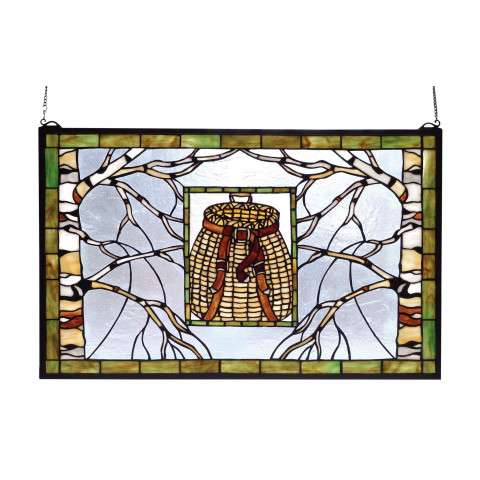 Meyda Tiffany 69502 Pack Basket Stained Glass Window in Rust finish