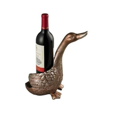 Sculpture - Duck Wine Holder-Duck Wine Holder In Antique Silver - Composite