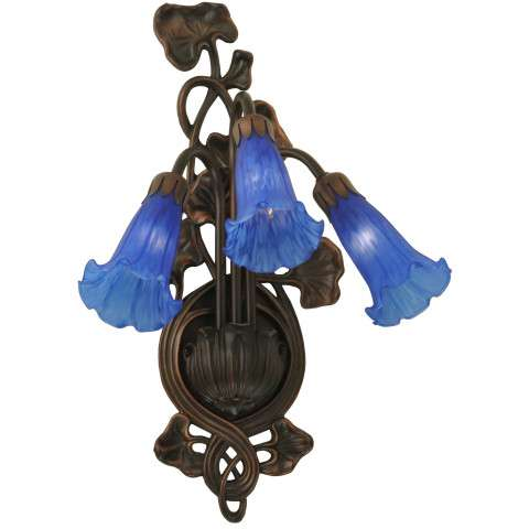 Meyda Tiffany 17234 Blue Pond Lily 3 Lt Wall Sconce in Mahogany Bronze finish