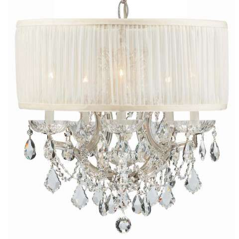 Crystorama 4415-CH-SAW-CLQ Polished Chrome Maria Theresa Chandelier Draped in Clear Swarovski Spectra Crystal and accented with a Antique White Shade.