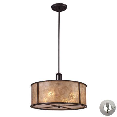Barringer 4-Light Pendant In Aged Bronze And Tan Mica Shade Includes An Adapter Kit To Allow For …